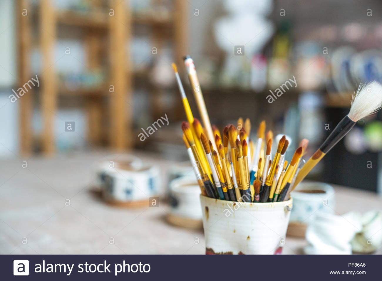 Artistic paint brushes - Stock Image