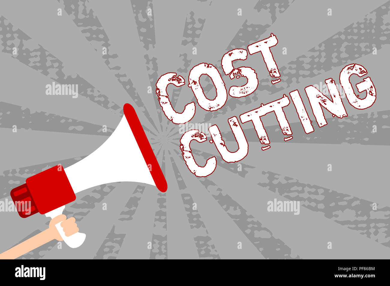 Writing note showing Cost Cutting. Business photo showcasing Measures implemented to reduced expenses and improved profit Man holding megaphone loudsp - Stock Image