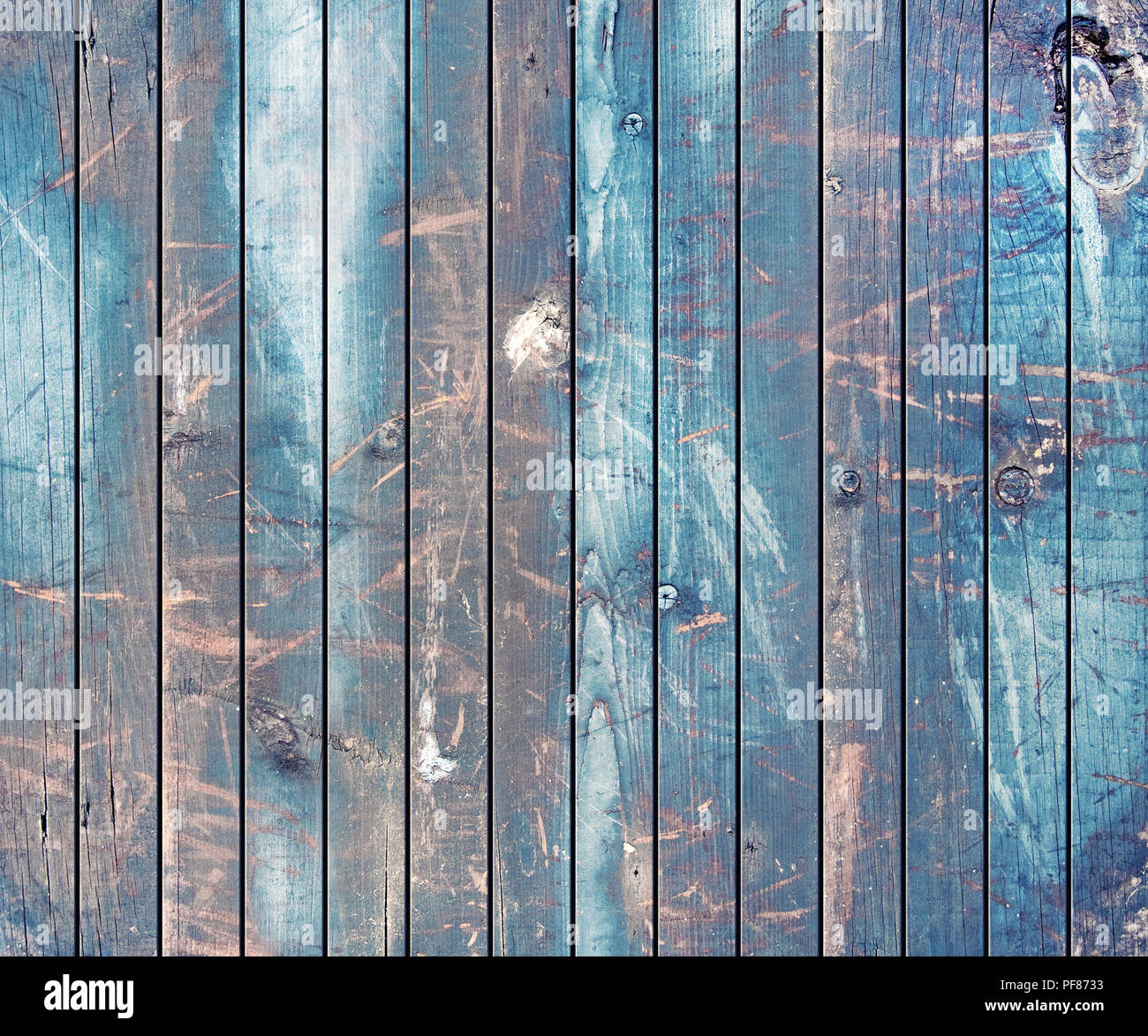 Brown and Blue Painted Wood Planks as Background, Natural Weathered Texture - Stock Image
