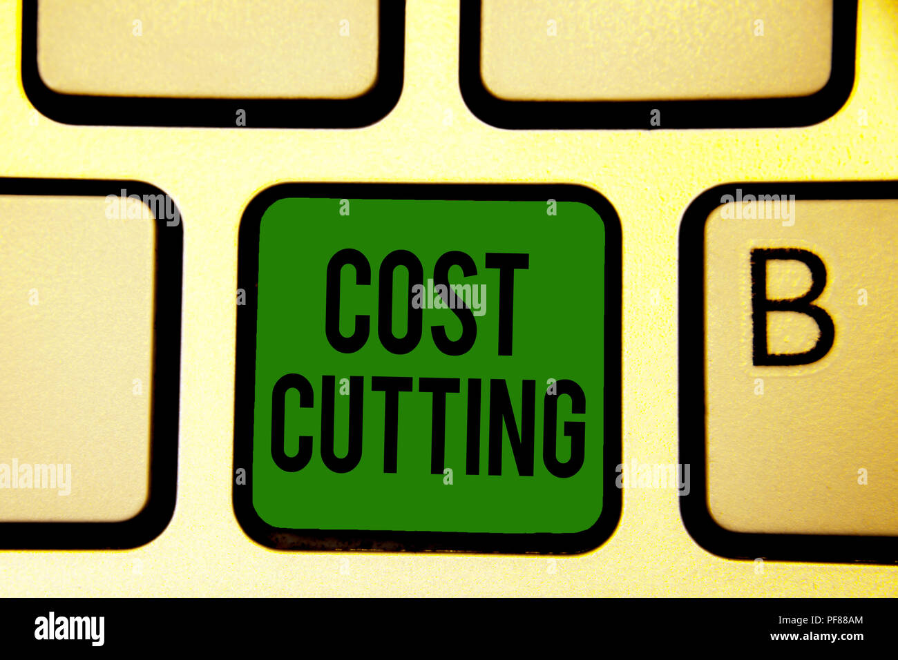 Word writing text Cost Cutting. Business concept for Measures implemented to reduced expenses and improved profit Keyboard green key Intention create  - Stock Image