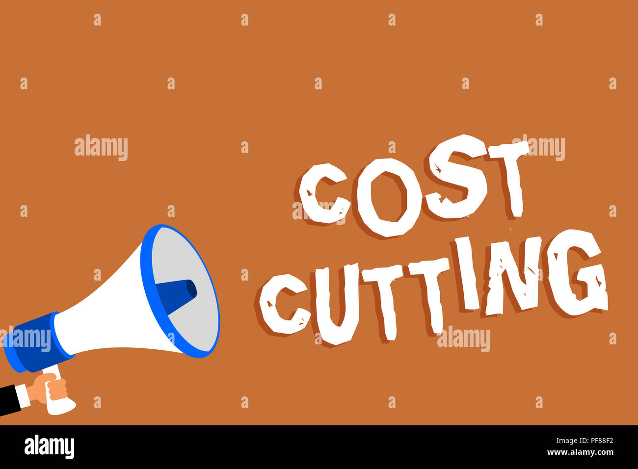 Text sign showing Cost Cutting. Conceptual photo Measures implemented to reduced expenses and improved profit Man holding megaphone loudspeaker orange - Stock Image