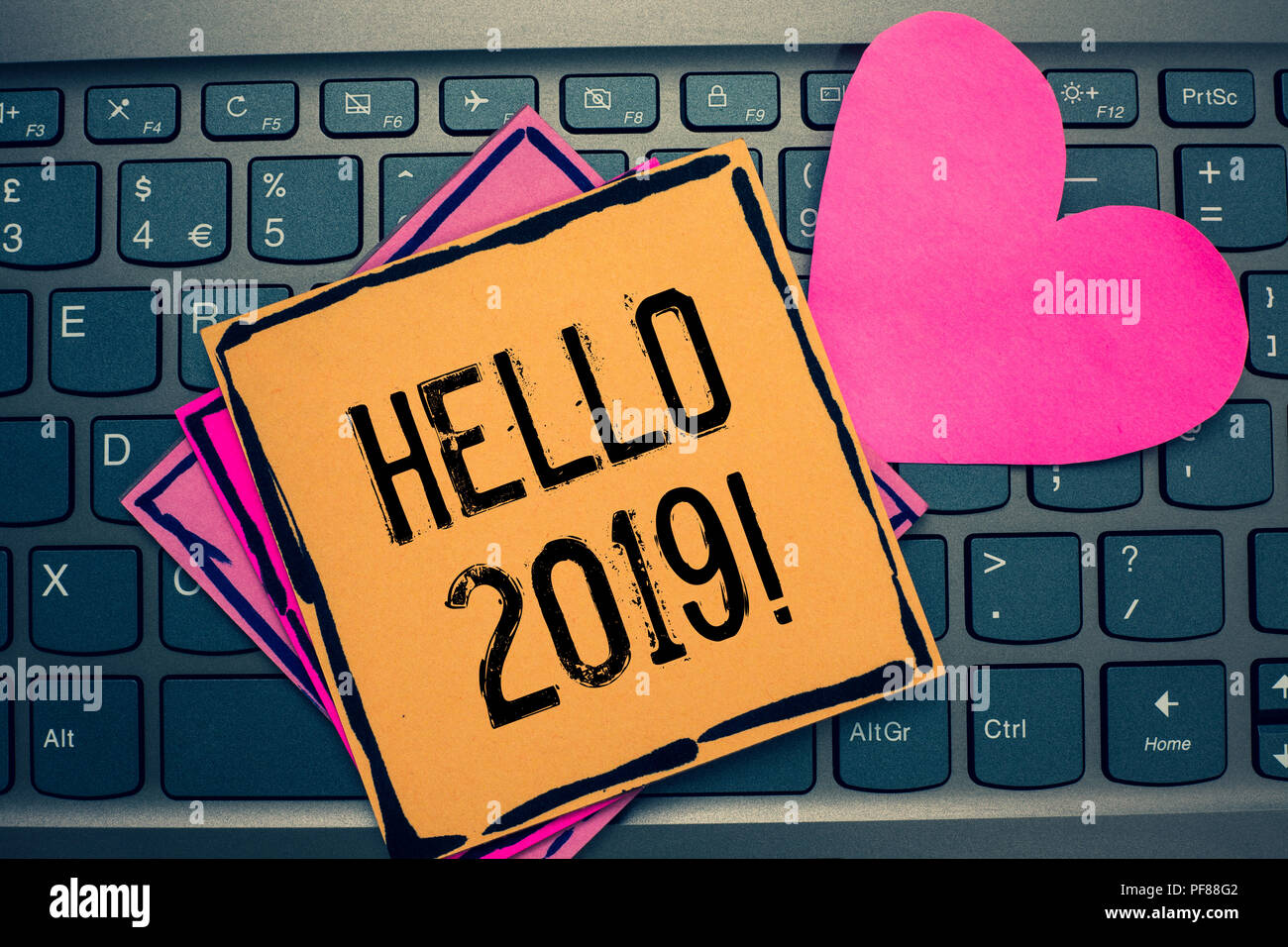 Writing note showing hello 2019 business photo showcasing business photo showcasing expression or gesture of greeting answering the telephone papers romantic lovely message he m4hsunfo