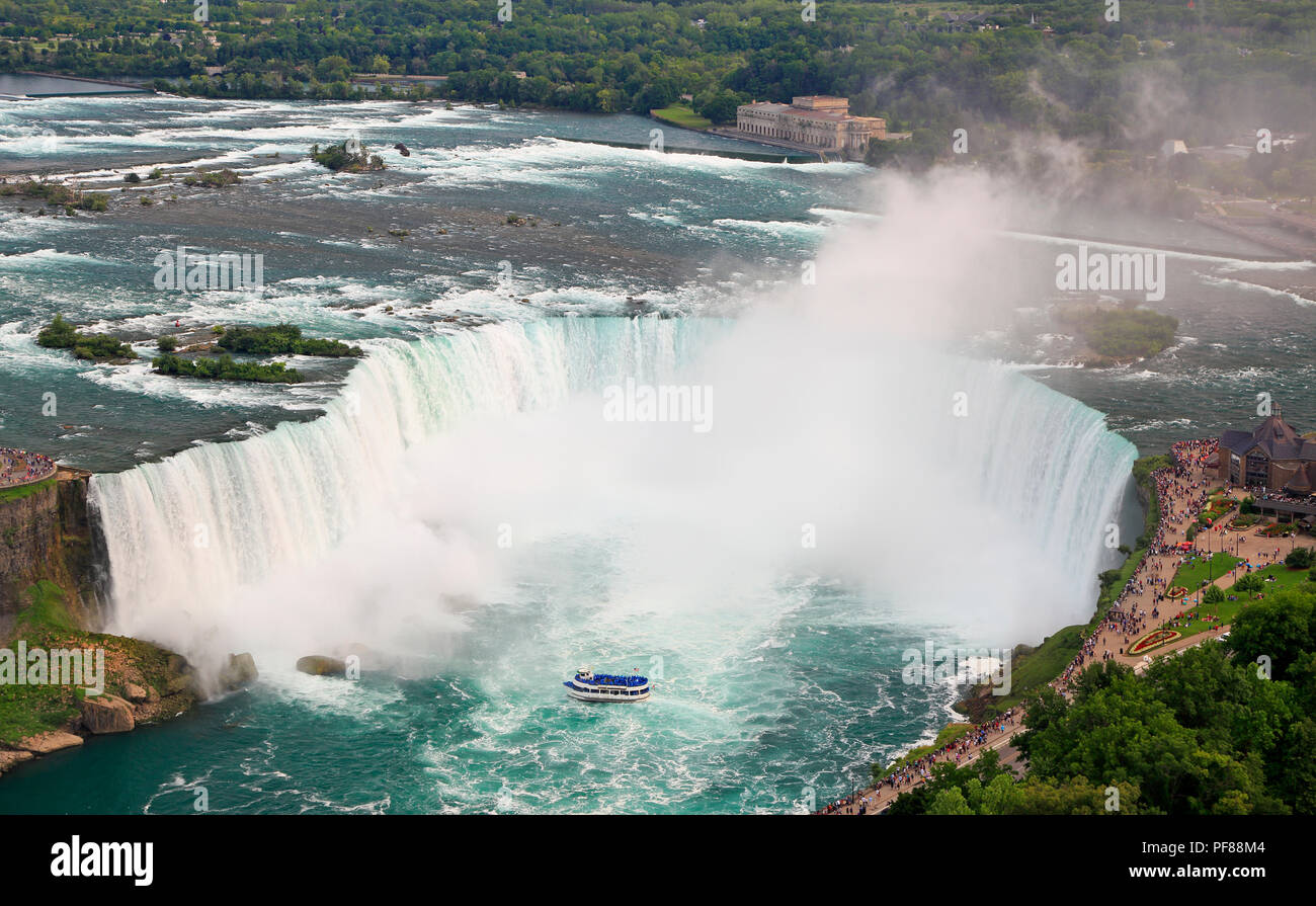 Horseshoe Falls in Niagara and Maid of the Mist boat, aerial view - Stock Image