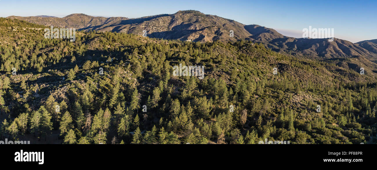 Panoramic view of mountains covered by forest in the southern part of California. Stock Photo