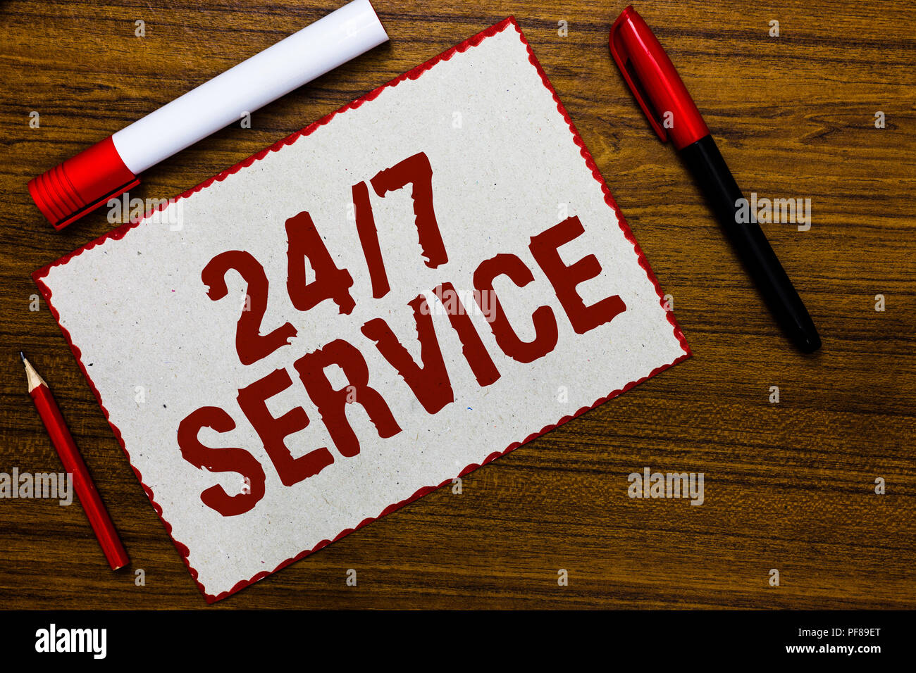Handwriting text writing 24 7 Service  Concept meaning Always