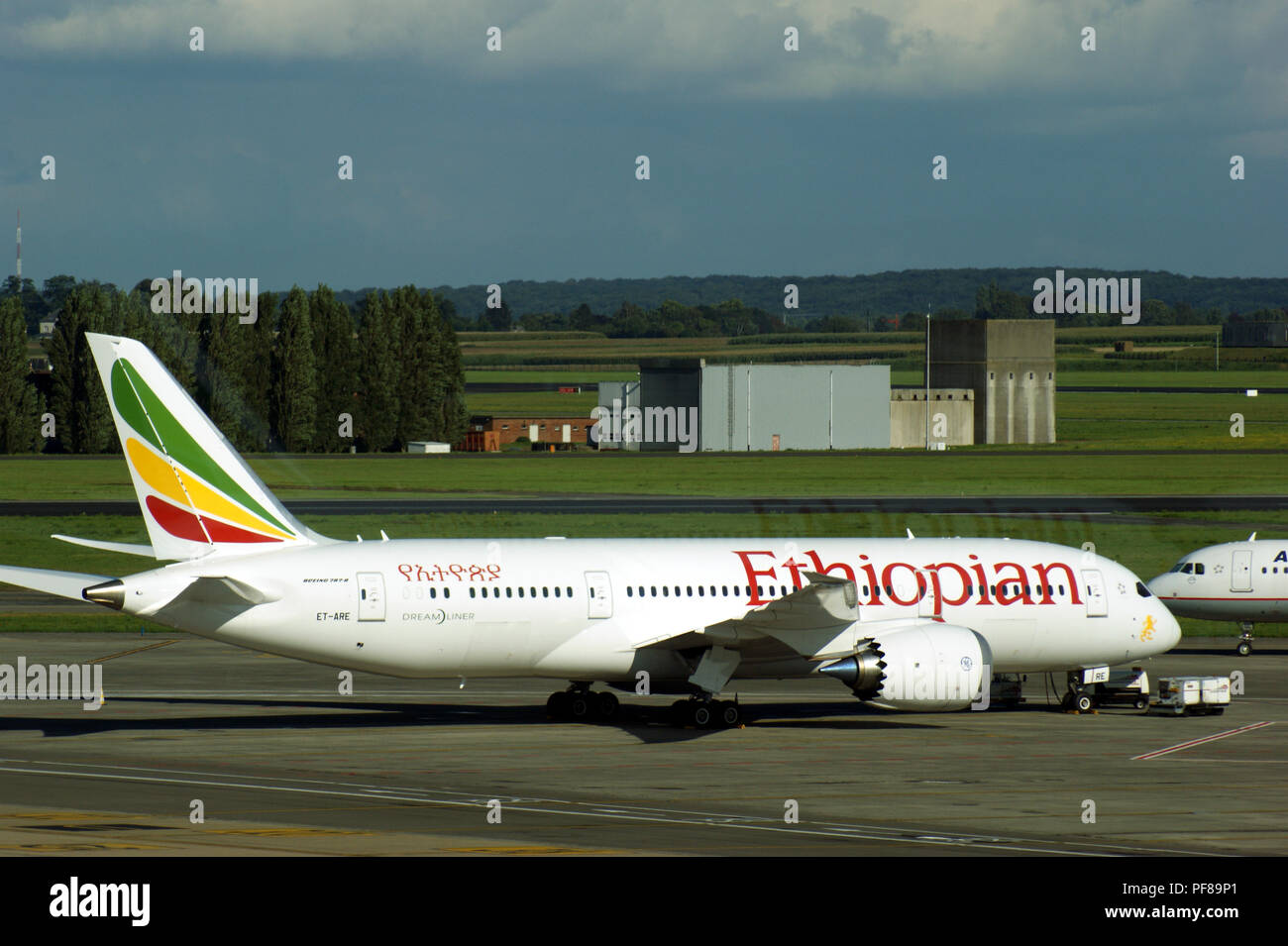 Boeing B787 Dreamliner ET-ARE of Ethiopian Airlines parked at Brussels Zavantem Airport - Stock Image