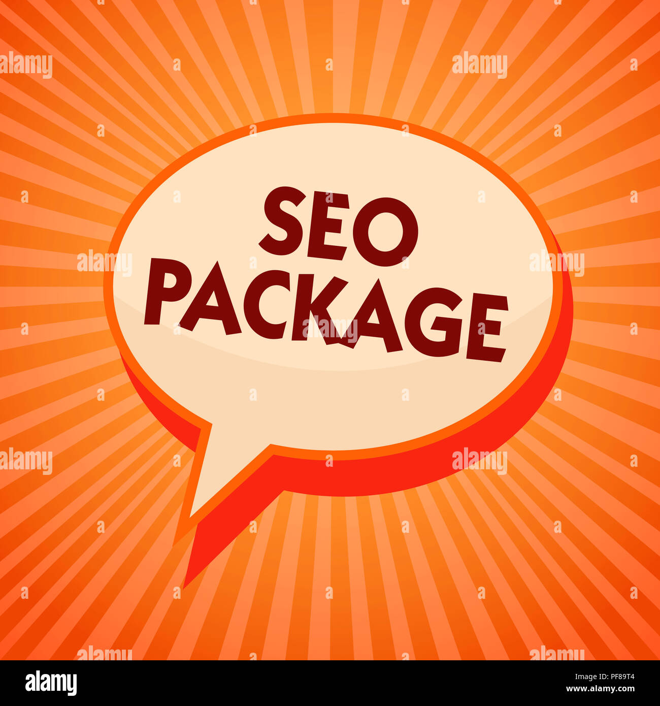 Word writing text Seo Package. Business concept for practice of search engine optimization increase amount visitors Orange speech bubble message remin - Stock Image