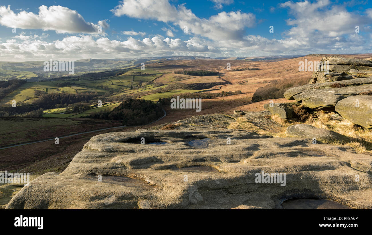 This is the superb view from Stanage Edge which is located in the High Peak area of the Peak District Nation Park. - Stock Image