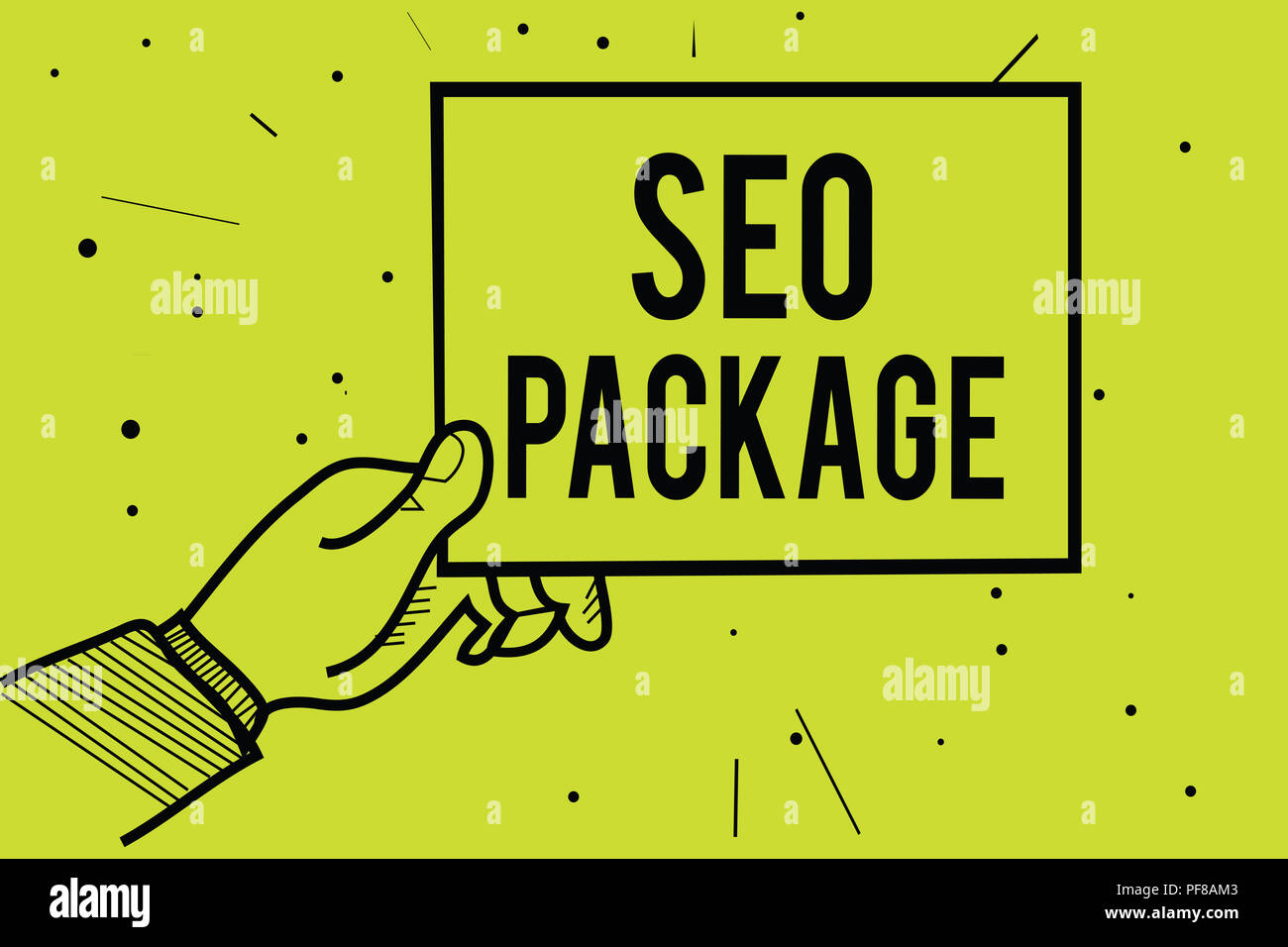 Handwriting text Seo Package. Concept meaning practice of search engine optimization increase amount visitors Man hand holding paper communicating inf - Stock Image