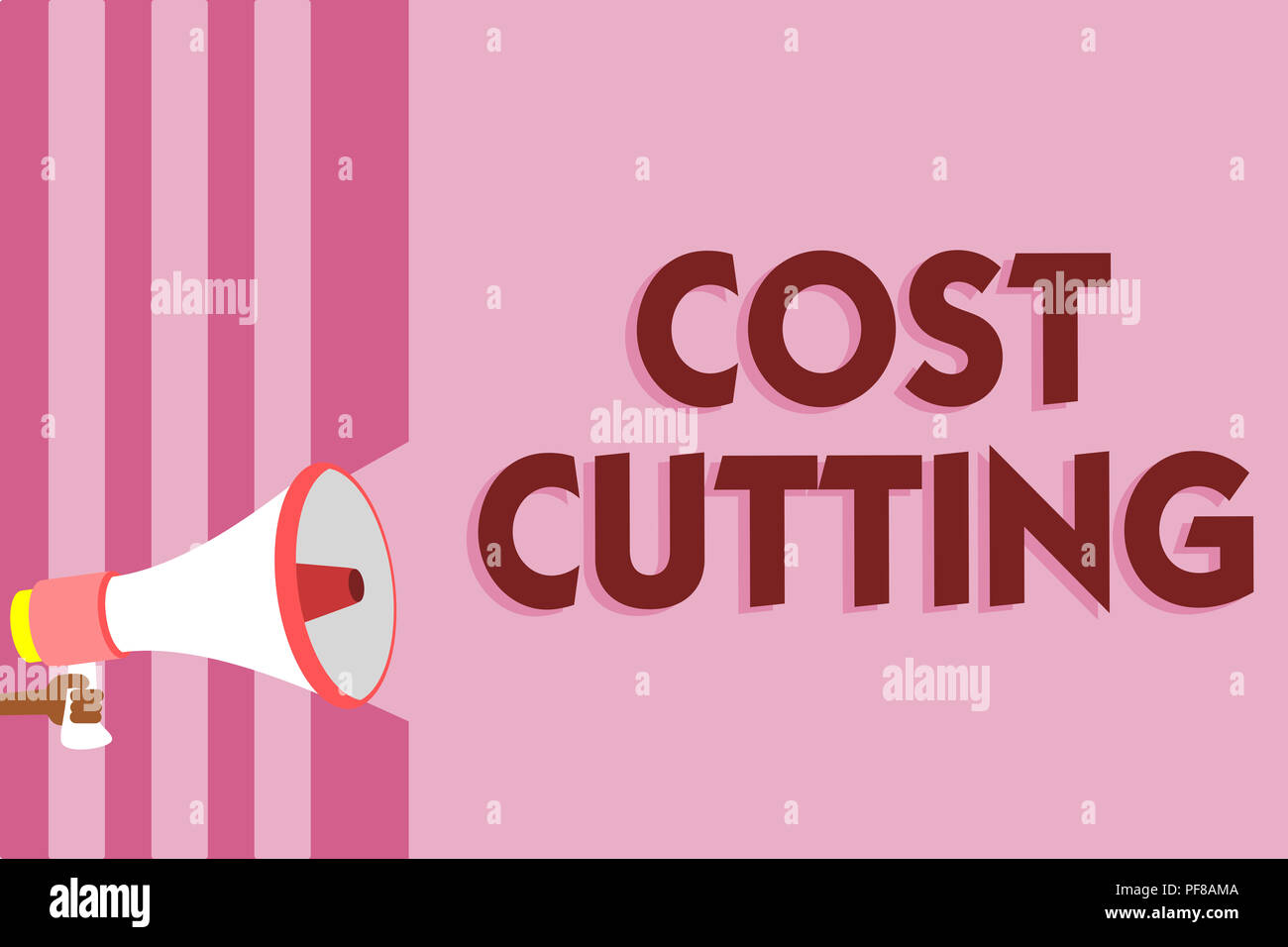 Word writing text Cost Cutting. Business concept for Measures implemented to reduced expenses and improved profit Megaphone loudspeaker pink stripes i - Stock Image