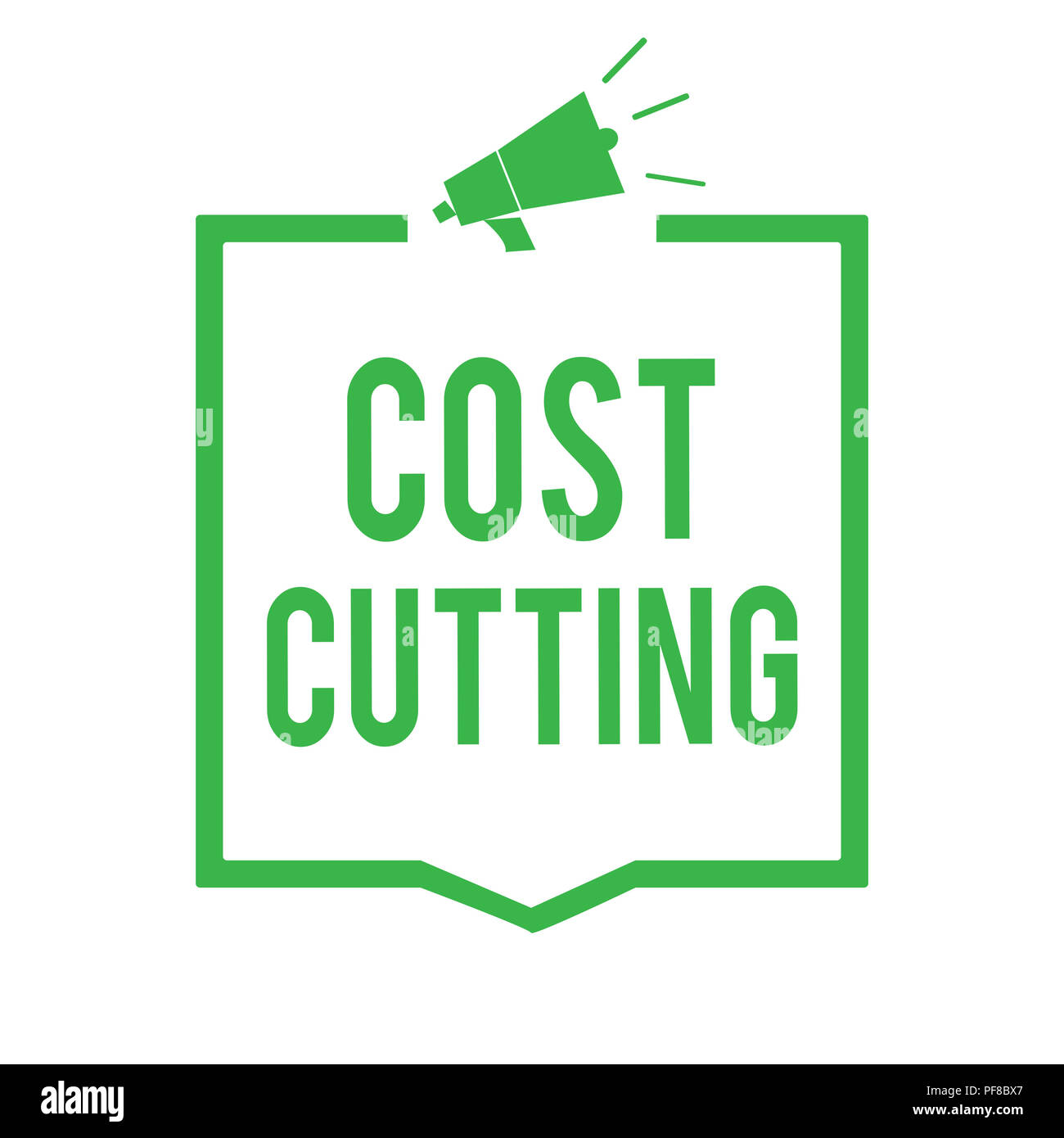 Writing note showing Cost Cutting. Business photo showcasing Measures implemented to reduced expenses and improved profit Megaphone loudspeaker green  - Stock Image