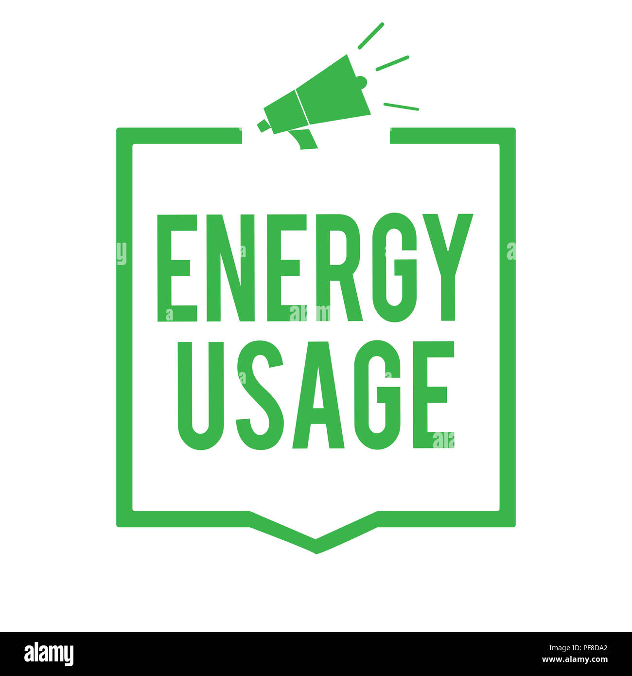 Writing note showing Energy Usage. Business photo showcasing Amount of energy consumed or used in a process or system Megaphone loudspeaker green fram - Stock Image