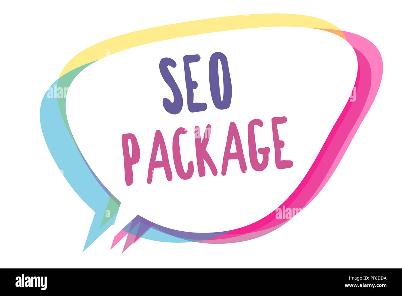 Writing note showing Seo Package. Business photo showcasing practice of search engine optimization increase amount visitors Speech bubble idea message - Stock Image