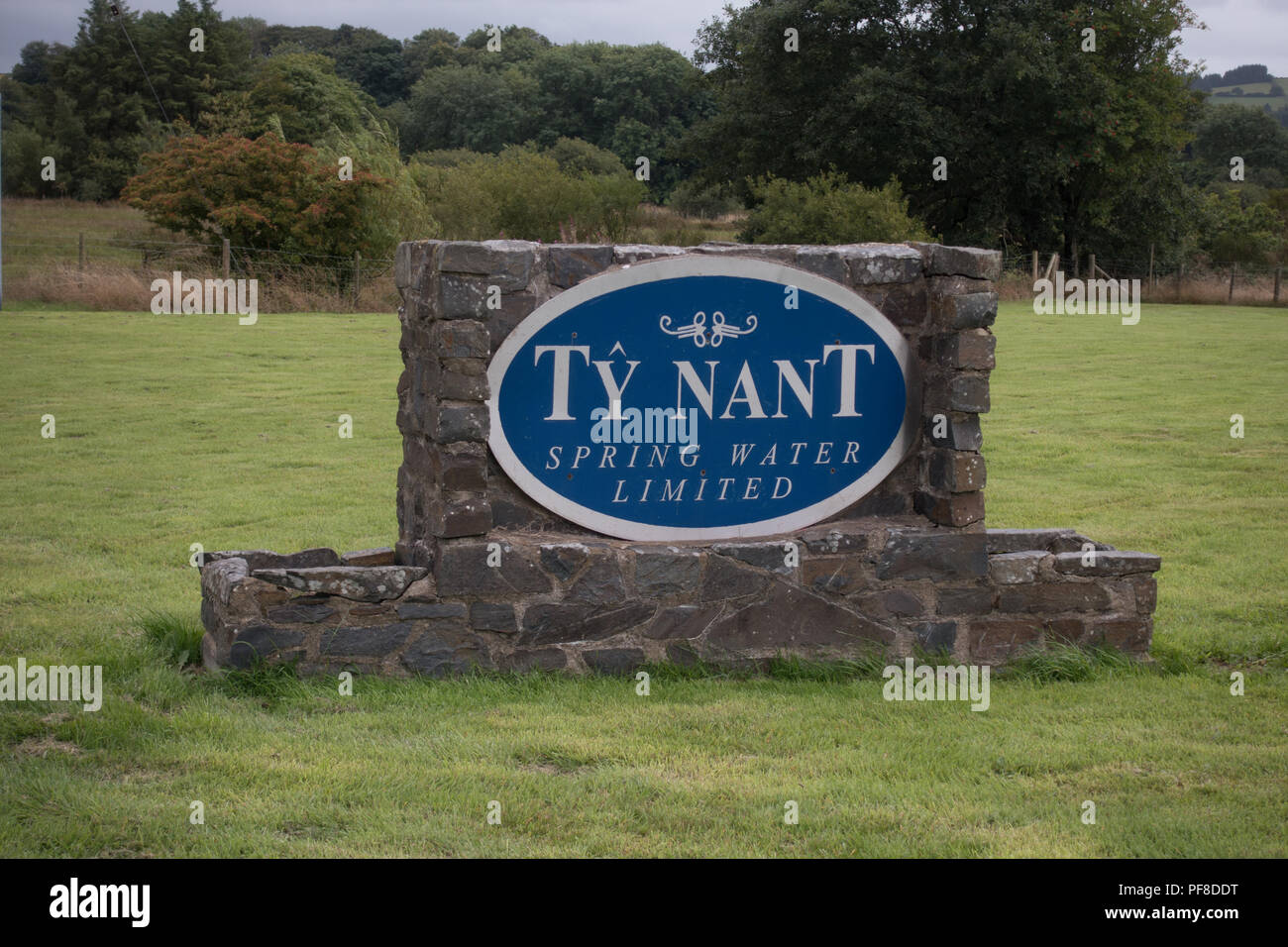 Ty Nant Spring Water Limited. Sign at entrance. Wales - Stock Image