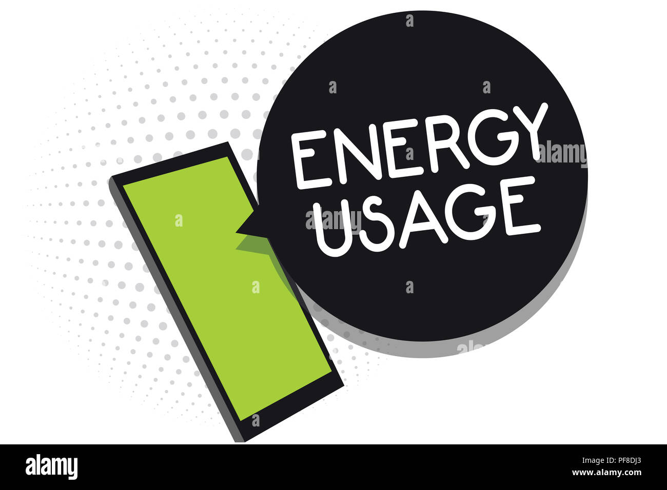 Handwriting text Energy Usage. Concept meaning Amount of energy consumed or used in a process or system Cell phone receiving text messages chats infor - Stock Image