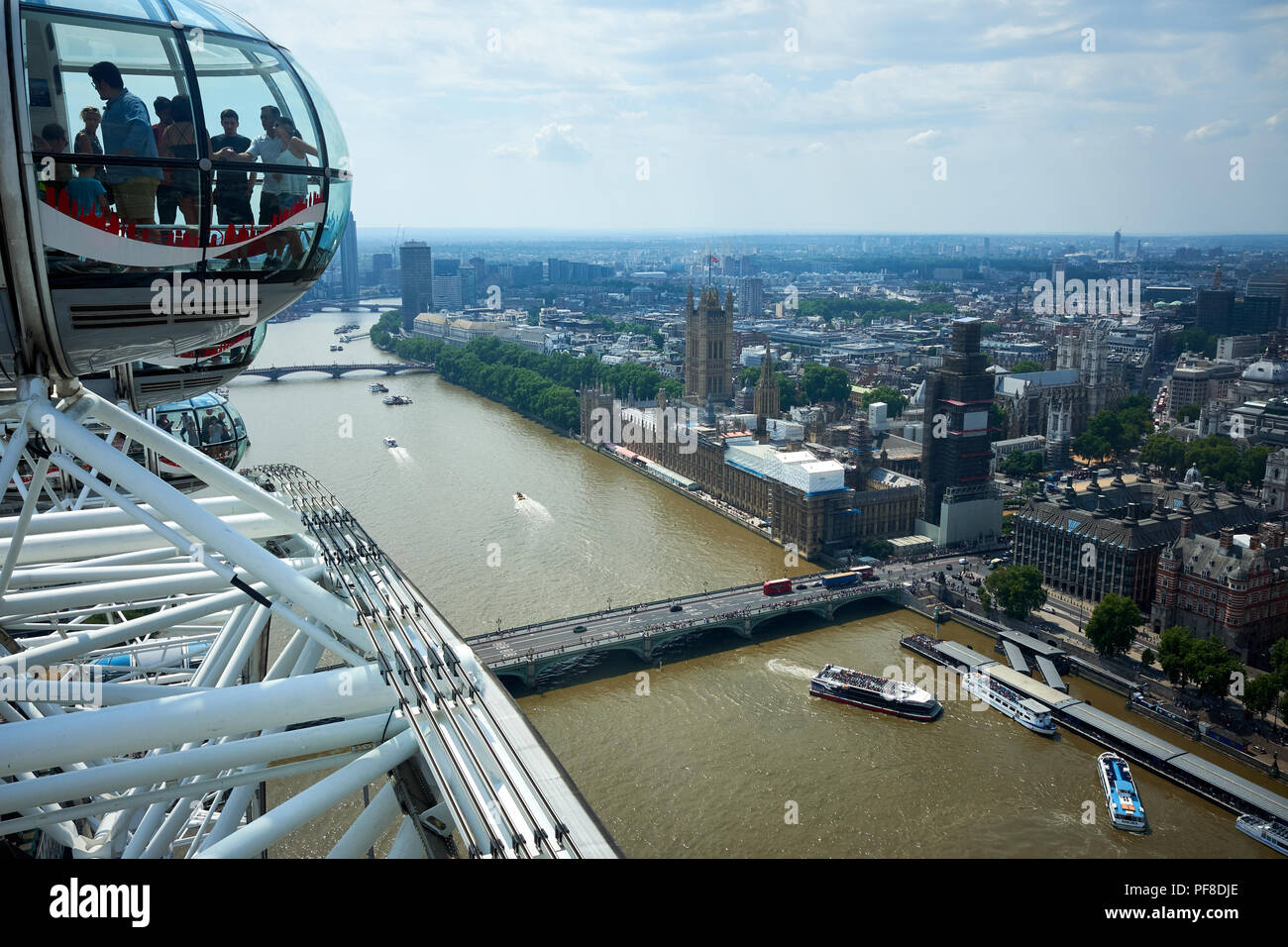 London / UK - July 26th 2018: The view of London looking across the Thames from the London Eye on the South Bank Stock Photo