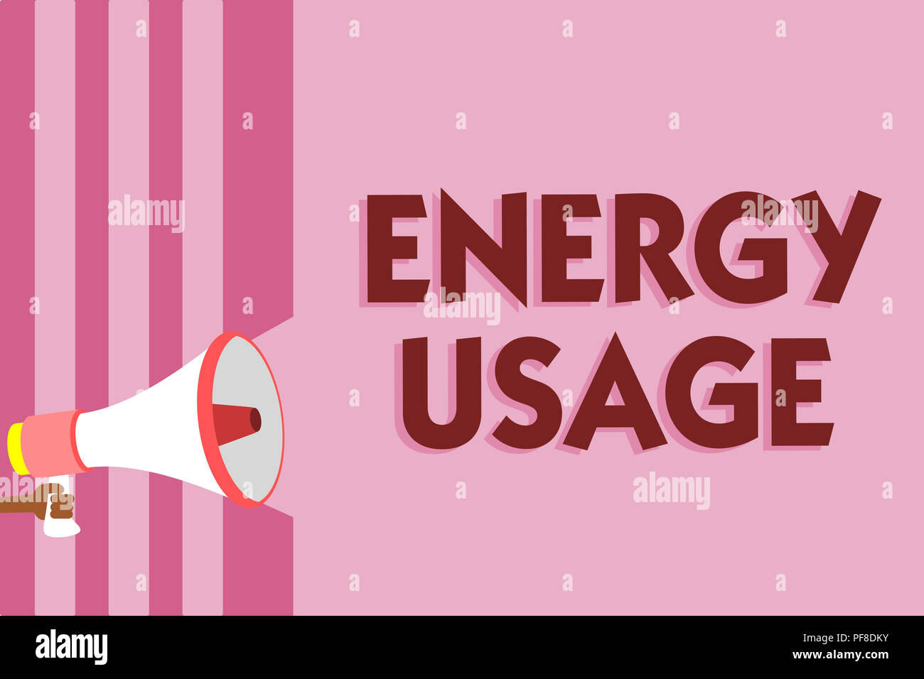 Word writing text Energy Usage. Business concept for Amount of energy consumed or used in a process or system Megaphone loudspeaker pink stripes impor - Stock Image
