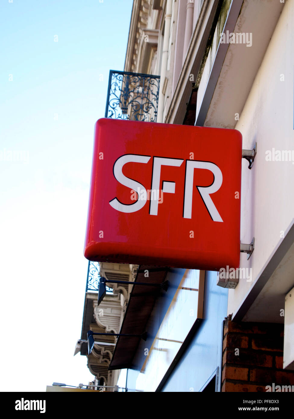 Logo of the telecommunication company  SFR in France - Stock Image