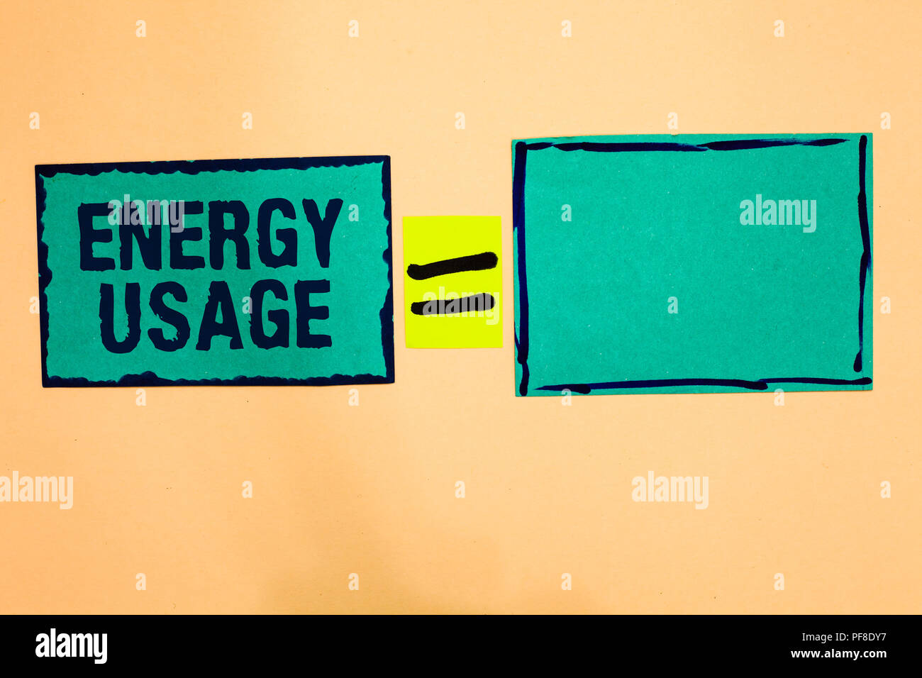 Text sign showing Energy Usage. Conceptual photo Amount of energy consumed or used in a process or system Turquoise paper notes reminders equal sign i - Stock Image