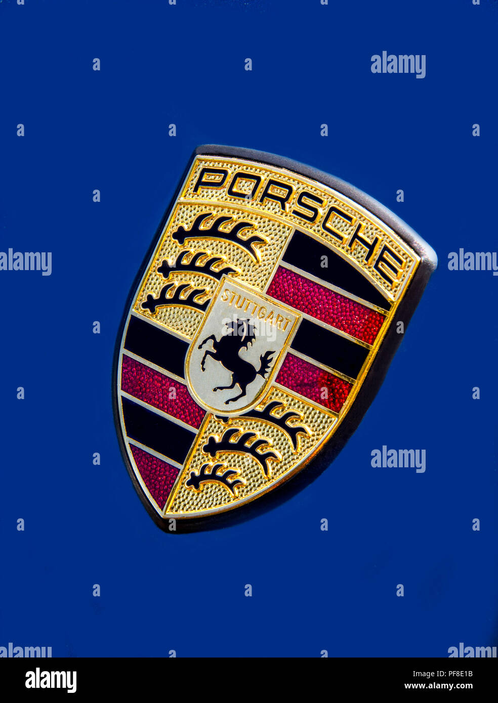 Porsche sign on the hood - Stock Image