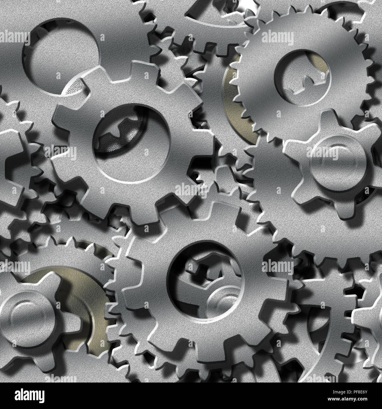 3 Dimensional Metal Gears - Stock Image