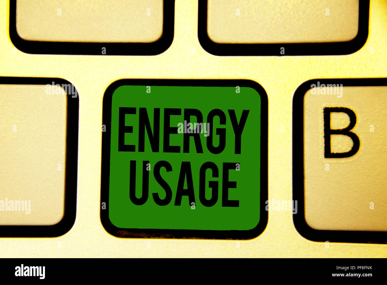 Word writing text Energy Usage. Business concept for Amount of energy consumed or used in a process or system Keyboard green key Intention create comp - Stock Image