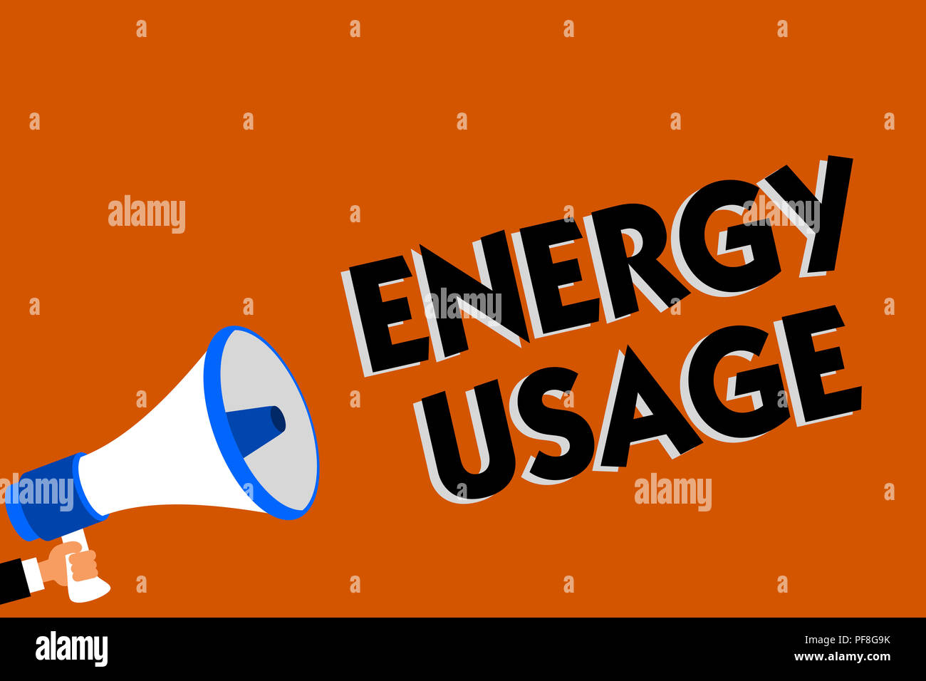 Conceptual hand writing showing Energy Usage. Business photo showcasing Amount of energy consumed or used in a process or system Man holding loudspeak - Stock Image