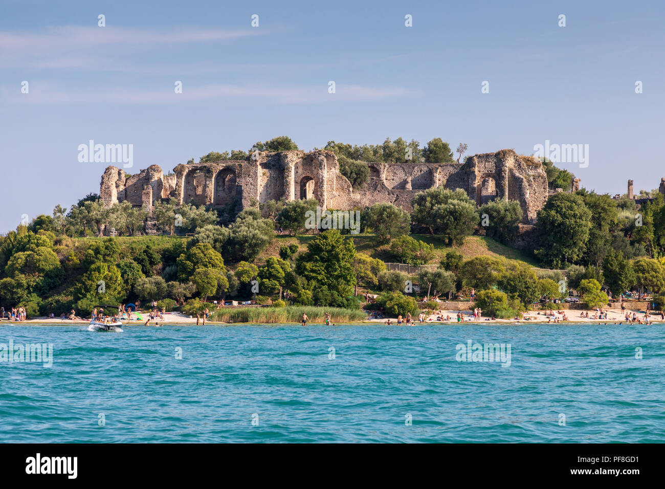 The  Grotto of Catullo ruined Roman villas near Sirmione.  Taken from Lake Garda.  The Grottoes of Catullus - Stock Image