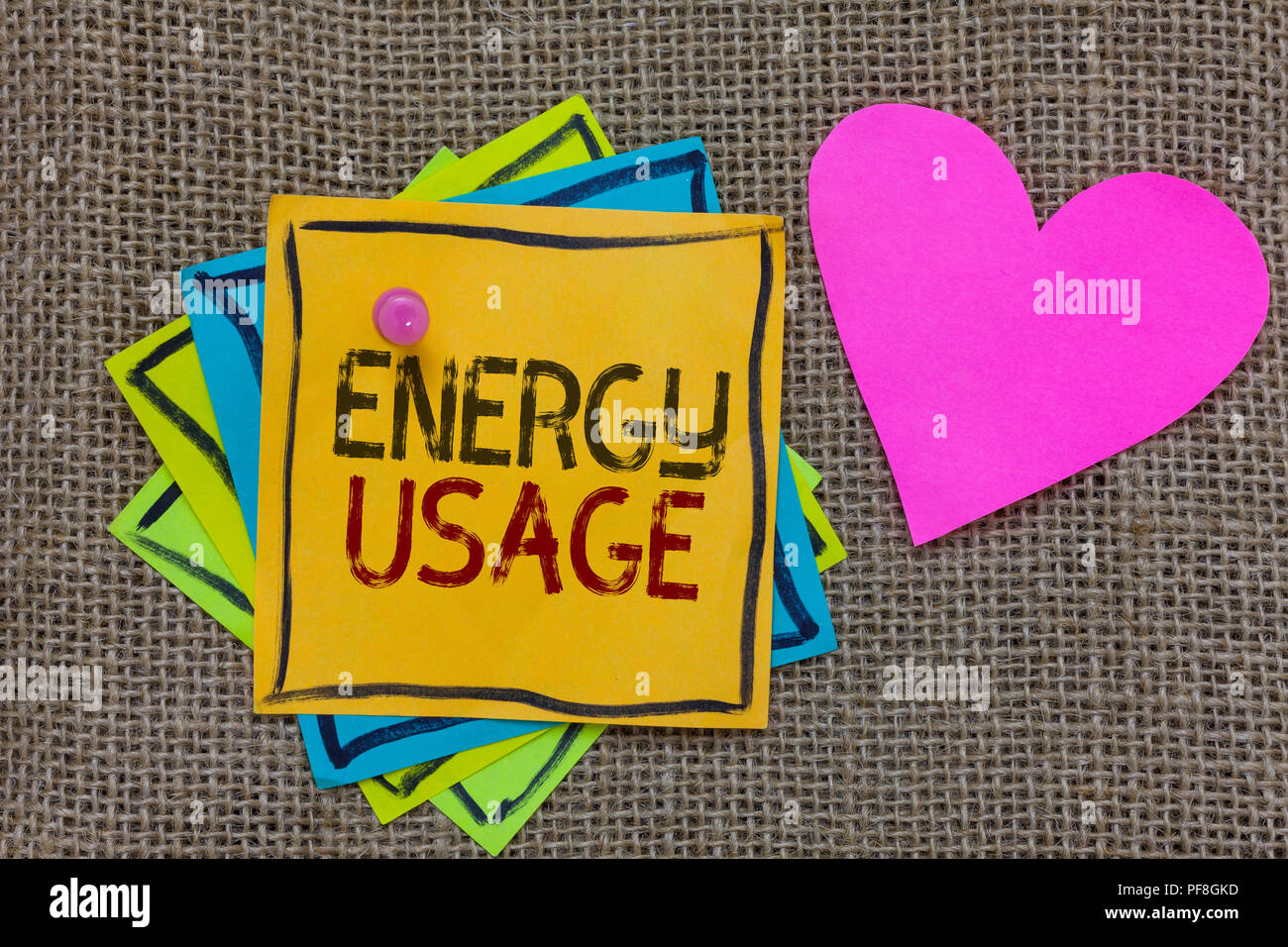 Conceptual hand writing showing Energy Usage. Business photo text Amount of energy consumed or used in a process or system Paper notes Important remin - Stock Image