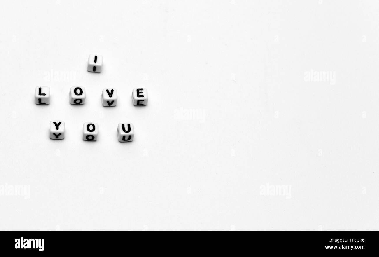 Message I love you spelled in  dice with copy space Stock Photo
