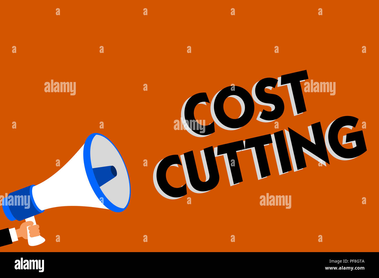 Conceptual hand writing showing Cost Cutting. Business photo showcasing Measures implemented to reduced expenses and improved profit Man holding louds - Stock Image