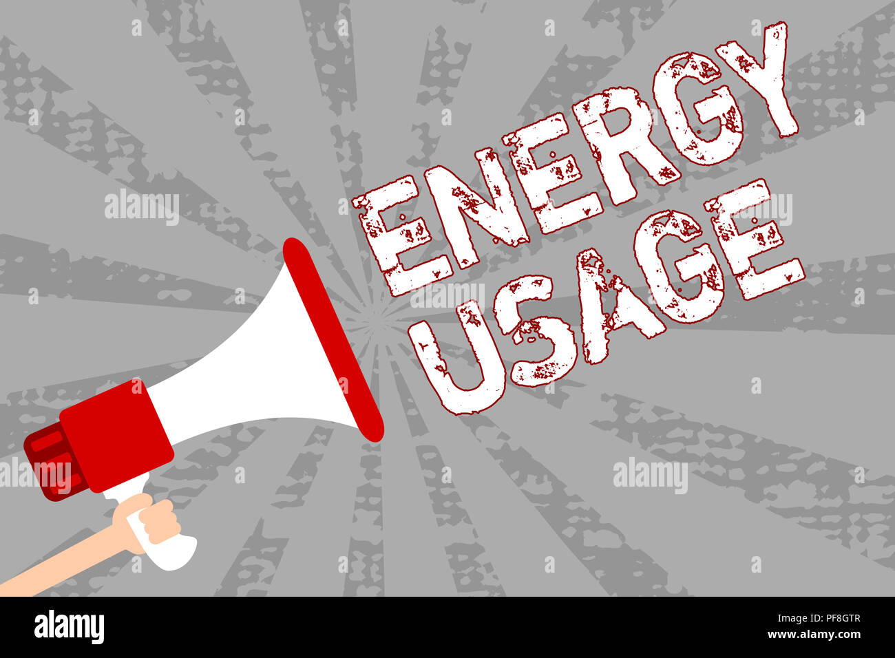 Writing note showing Energy Usage. Business photo showcasing Amount of energy consumed or used in a process or system Man holding megaphone loudspeake - Stock Image