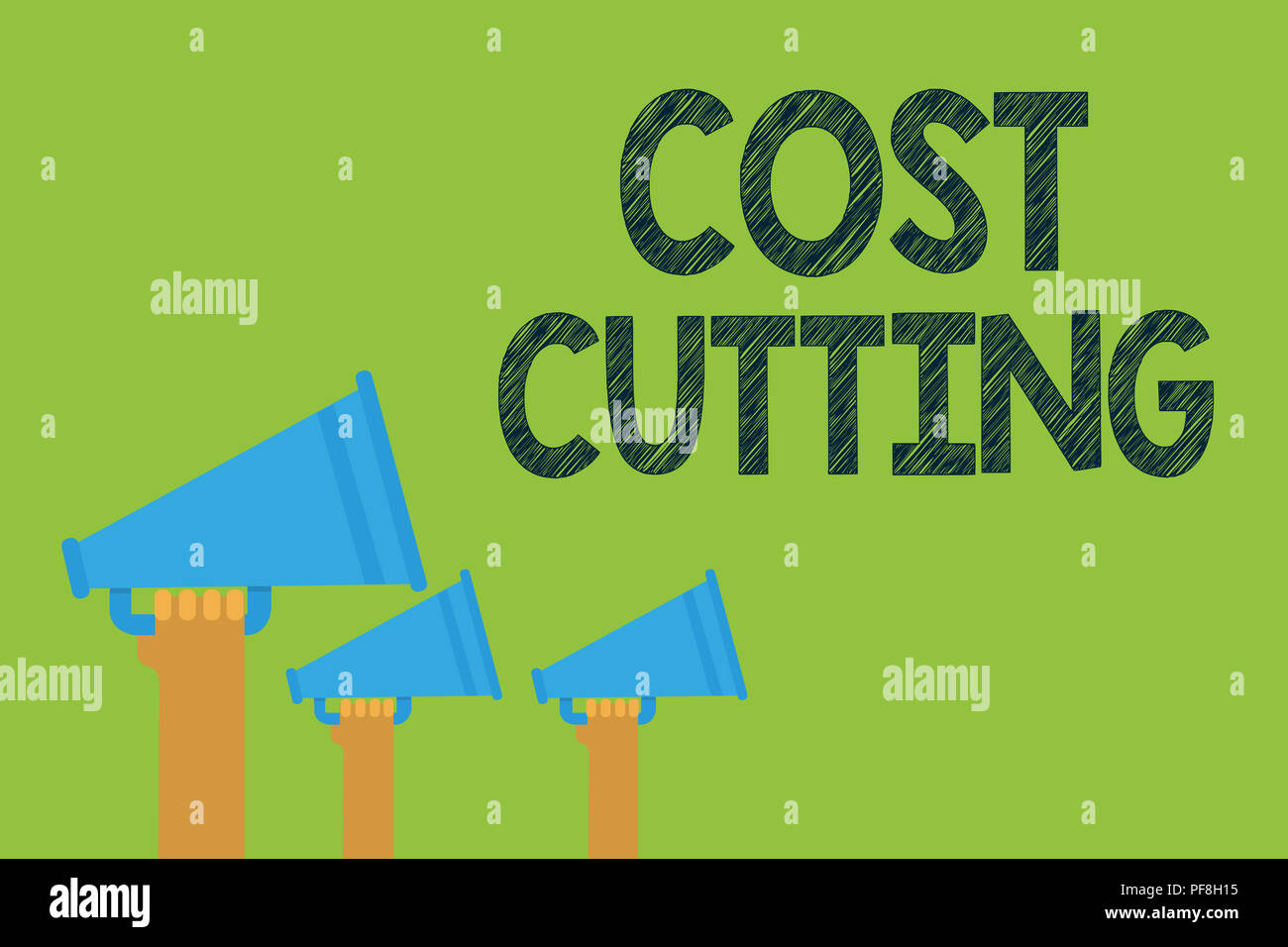 Conceptual hand writing showing Cost Cutting. Business photo text Measures implemented to reduced expenses and improved profit Hands holding megaphone - Stock Image
