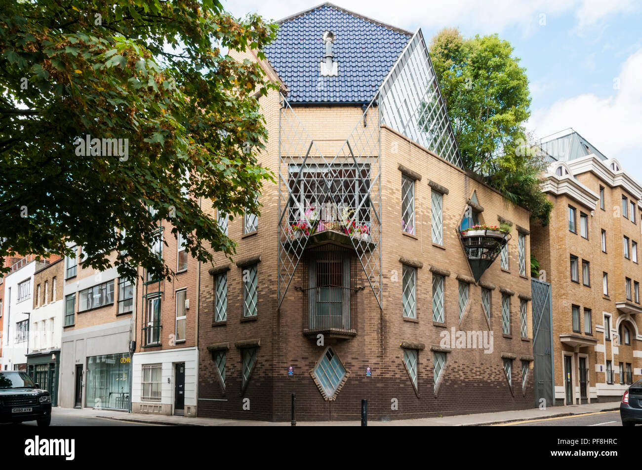 Grade II listed post-modern house at 44 Britton Street originally designed for Janet Street Porter by Piers Gough in 1986. - Stock Image