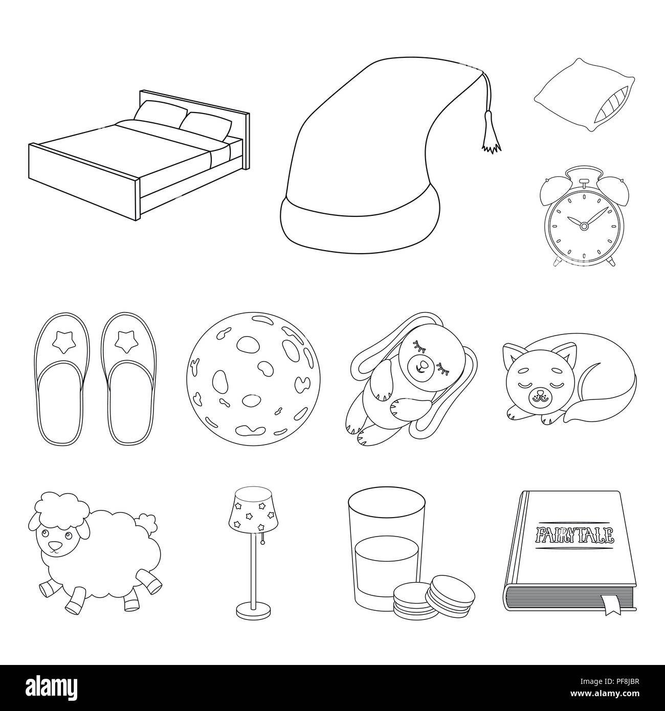 Rest And Sleep Outline Icons In Set Collection For Design