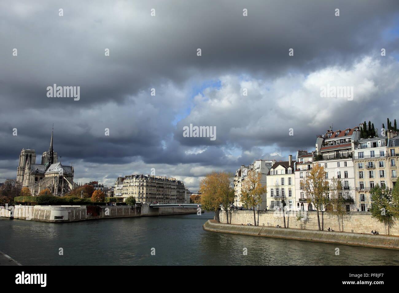 Paris, Ile Saint Louis, Cathedrale Notre Dame, Ile de France, 75, - Stock Image