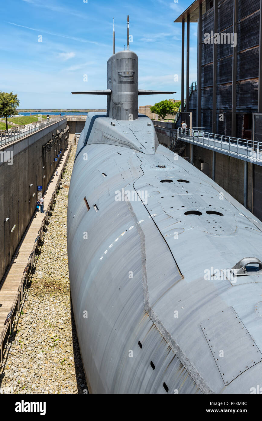 """Cherbourg-Octeville, France - May 22, 2017: Nuclear submarine Le Redoutable of French Navy in the """"Cite de la Mer"""" (City of the Sea), maritime museum  Stock Photo"""