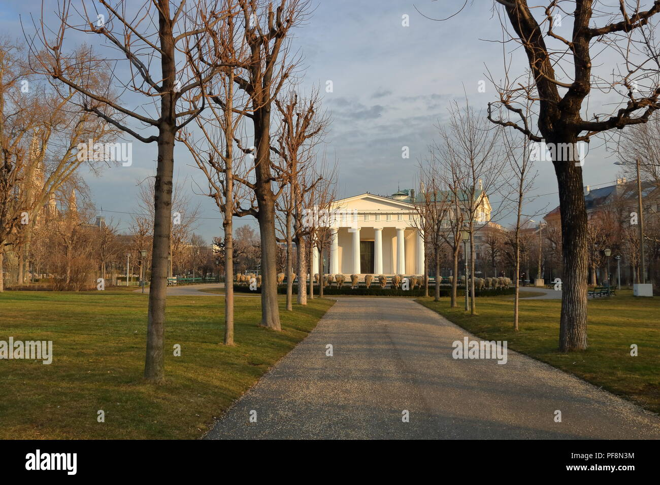 Cityscape of Vienna, Austria, public park, historical beautiful building, autumn, alley, without people. - Stock Image