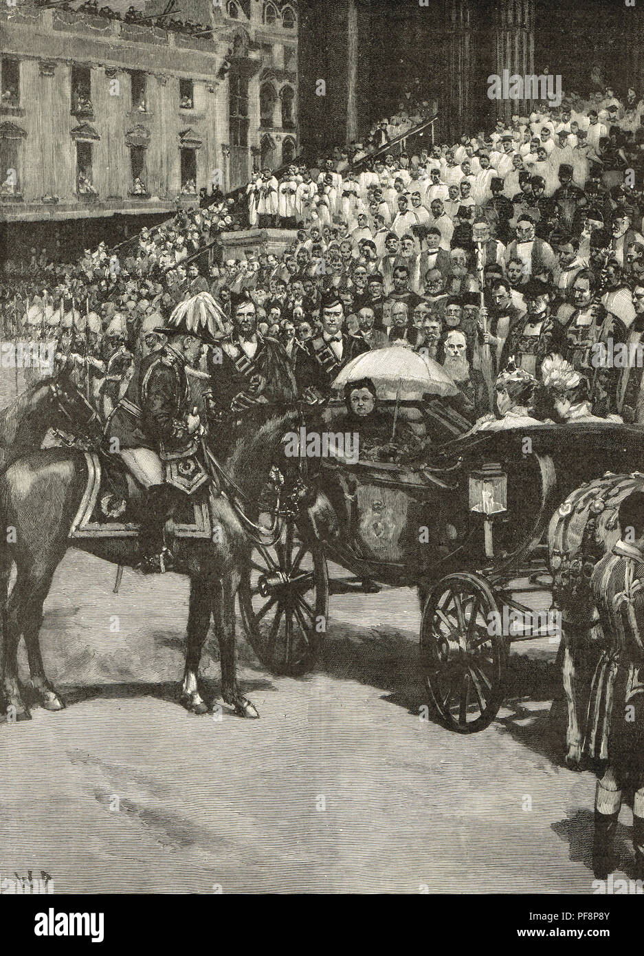 Diamond Jubilee procession, Queen Victoria, 22 June 1897.  The Thanksgiving service at St Paul's, London, England - Stock Image