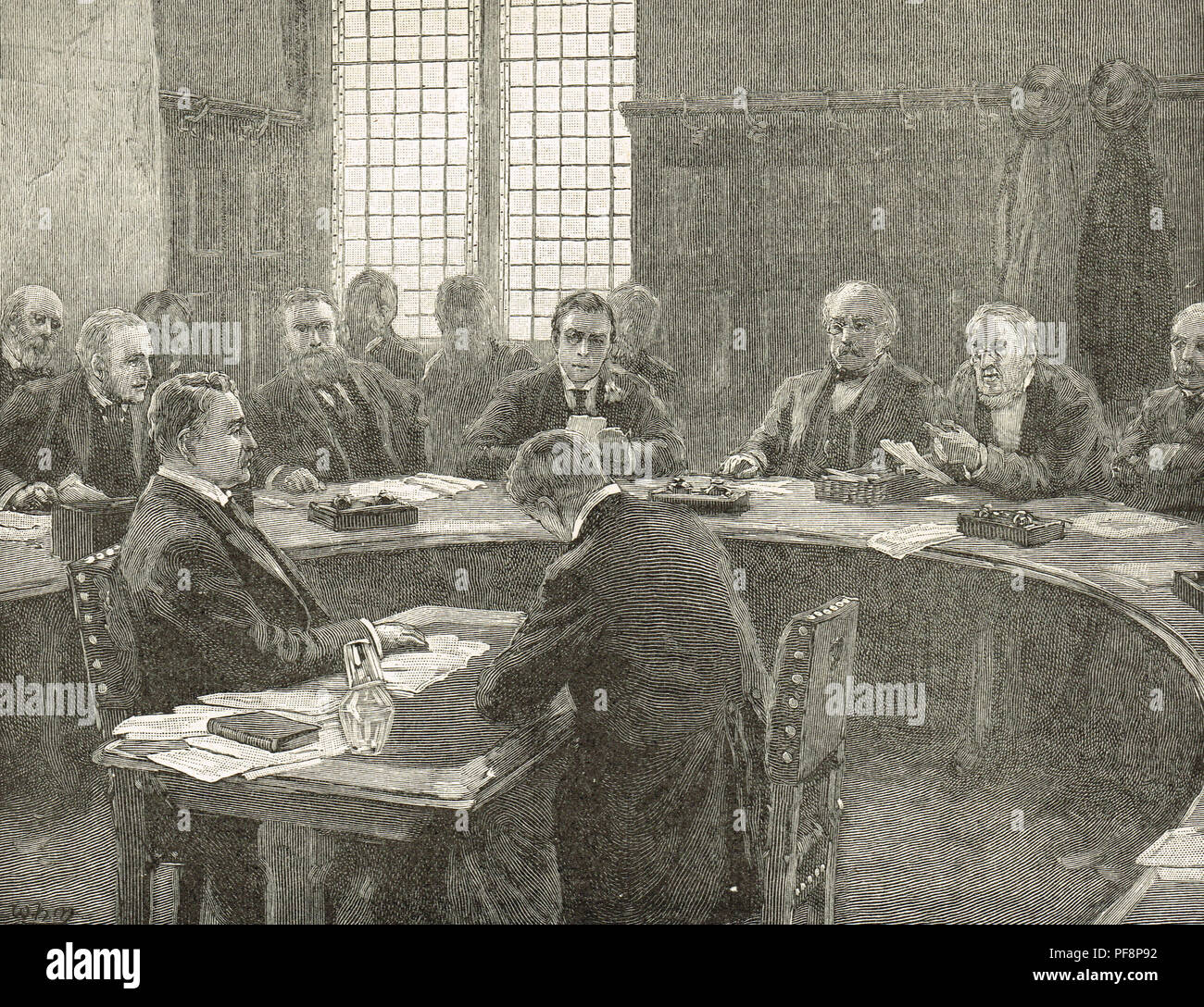 Cecil Rhodes giving evidence before the South Africa committee. A house of commons inquiry into the Jameson Raid against the South African Republic 1895 to 1896, led by Leander Starr Jameson - Stock Image