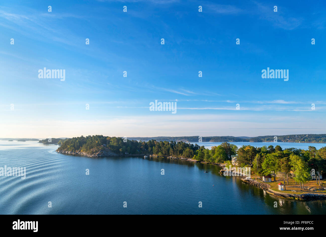 Stockholm Archipelago. View from the deck of the Turku to Stockholm ferry in the early morning, Stockholm Archipelago, Sweden - Stock Image