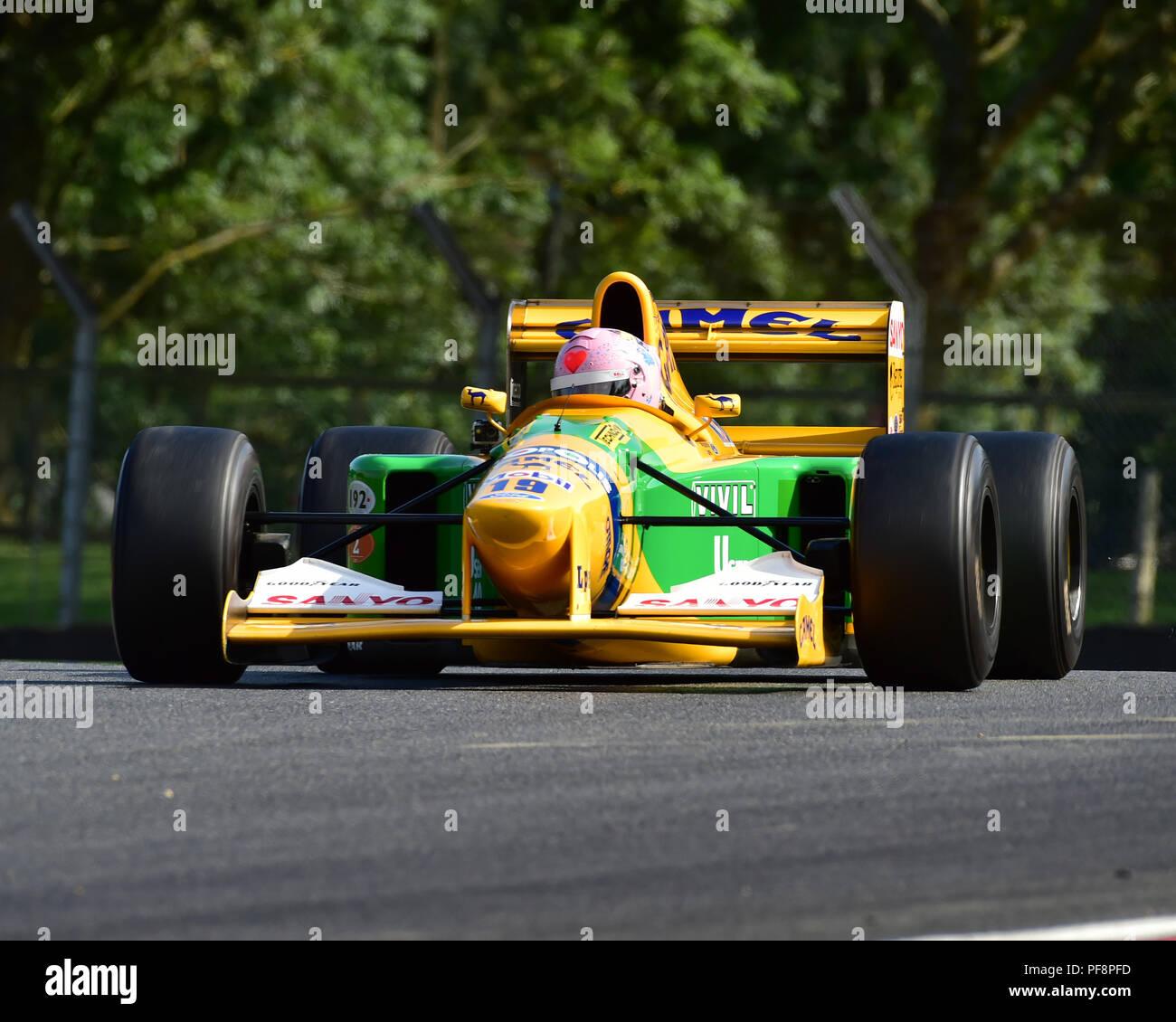 Lorina McLaughlin, Benetton B192, F1, Historic Racing Car Demonstration, Festival Italia, Brands Hatch, Kent, August 19th, 2018, circuit racing, compe - Stock Image