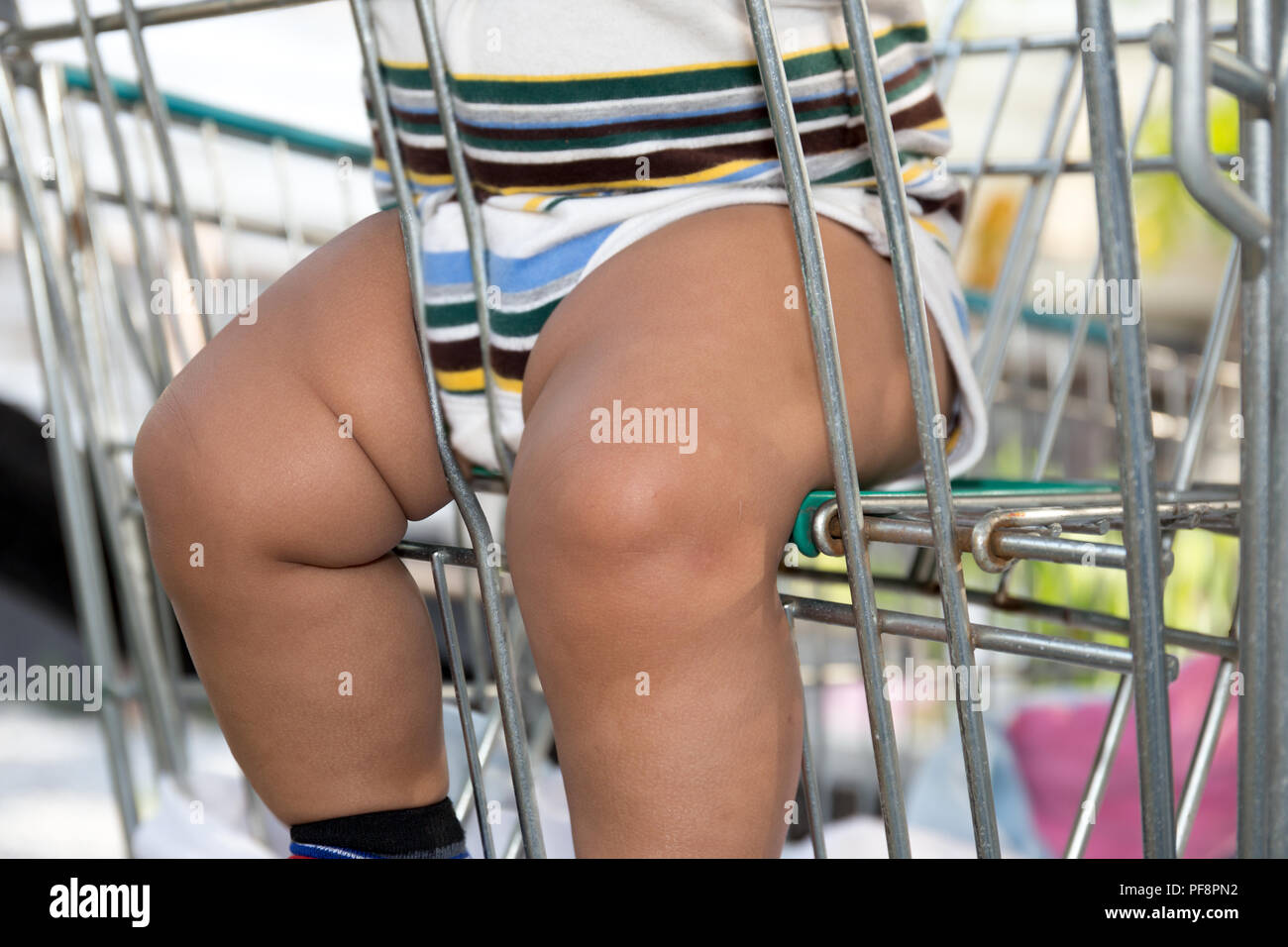 Asian chubby child sits in shopping trolley i - Stock Image