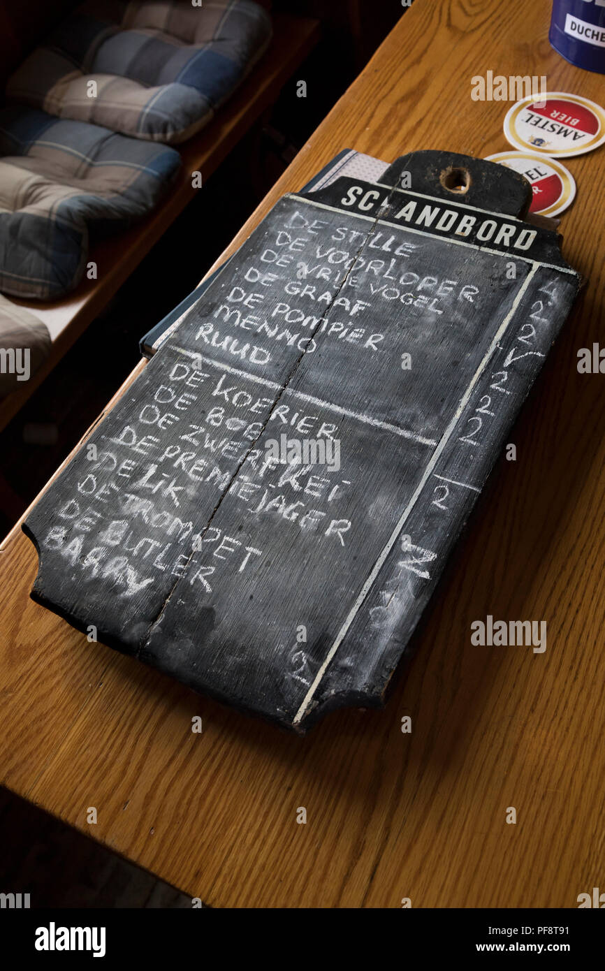 Alkmaar, Netherlands - July 20, 2018: Traditional vintage black board with the nicknames of the cheese carriers and the times the have arrived late - Stock Image