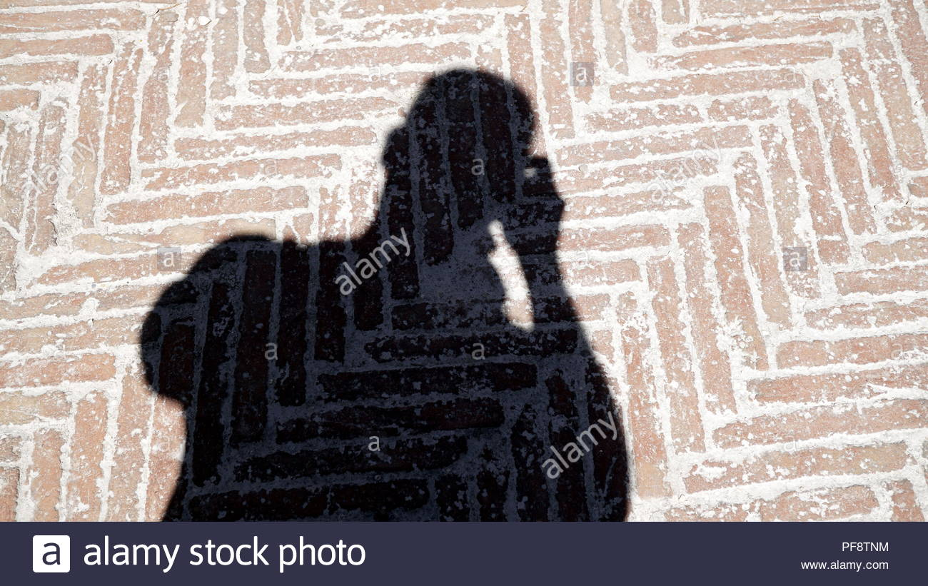 shadow of man that take a picture,projected on geometric flooring - Stock Image