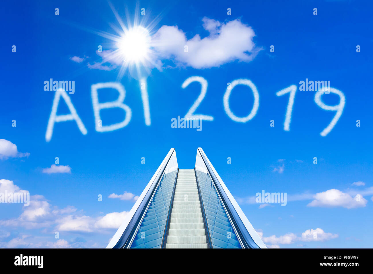 Escalator into a blue sky, concept of achievement, ABI 2019 text, Abitur meaning german high school graduation or A levels - Stock Image