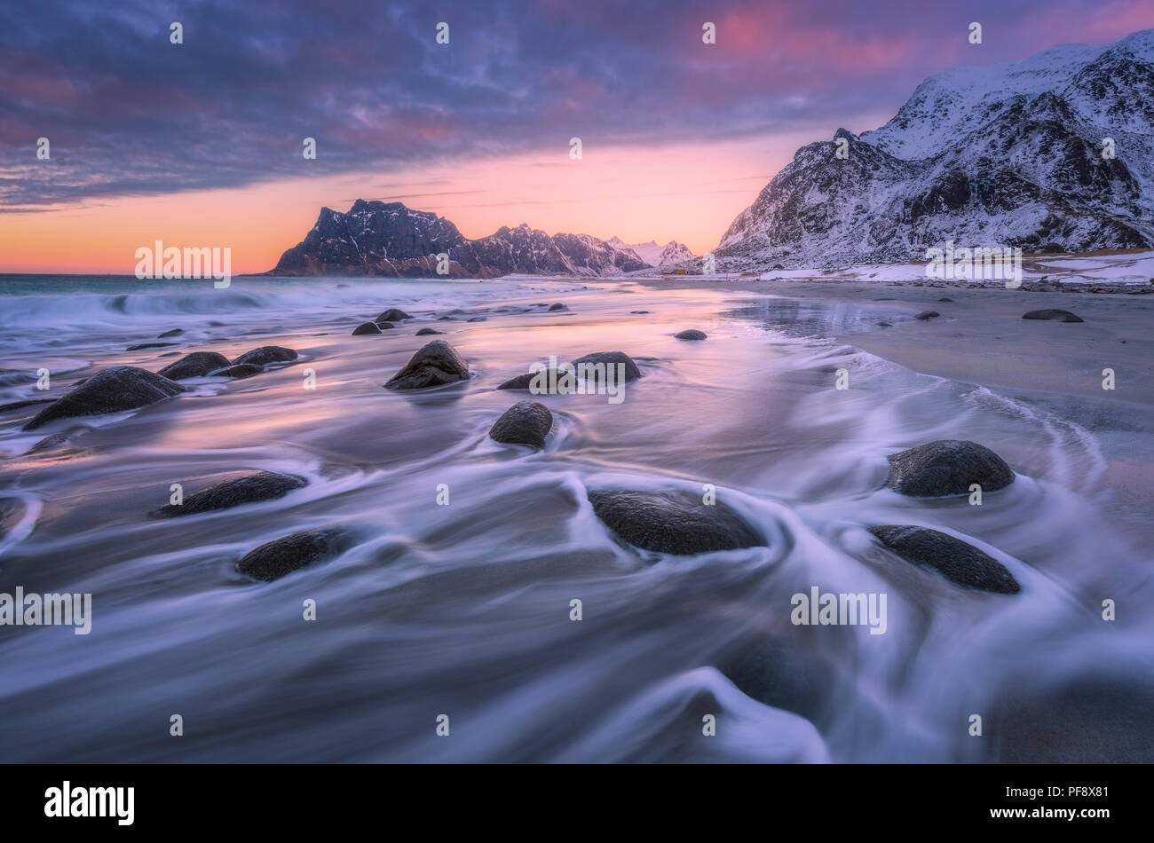 Beautiful sandy beach with stones in blurred water, colorful cloudy pink sky and snowy mountains at sunset. Utakleiv beach, Lofoten islands, Norway. W - Stock Image