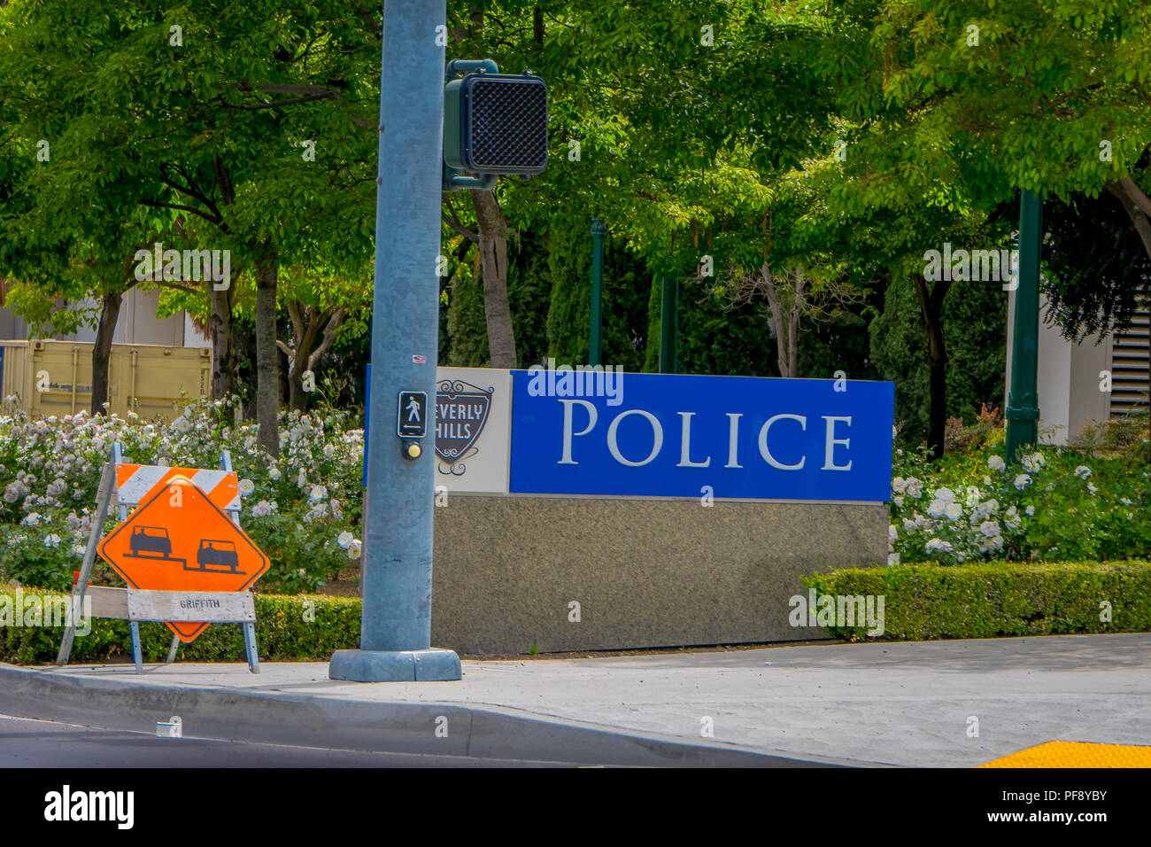 Los Angeles, California, USA, JUNE, 15, 2018:: The famous Beverly Hills symbol and sign on the exterior of the Beverly Hills Police Station - Stock Image