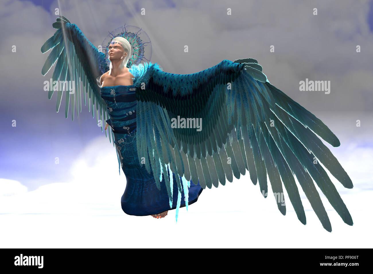 Angel Michael in Flight - Rays of sunlight shine down on archangel Michael as he flies toward the gates of heaven. - Stock Image