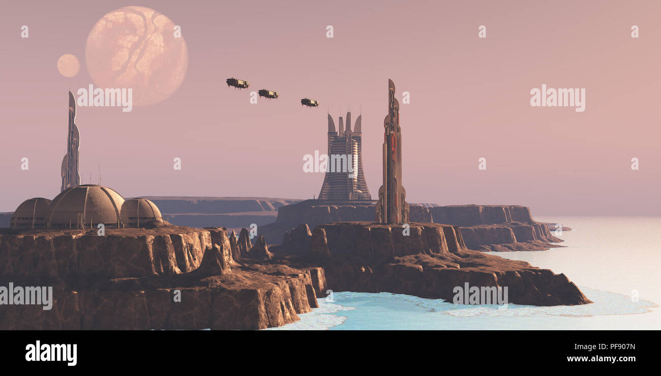 Astral Sector Planet - Shuttles take people to different buildings on an alien world full of advanced architecture. - Stock Image